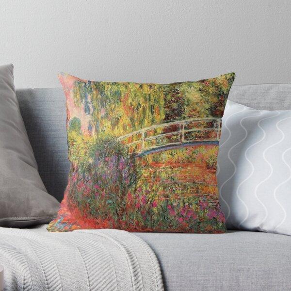 Monet The Japanese Bridge (The Water-Lily Pond, Water Irises) Throw Pillow
