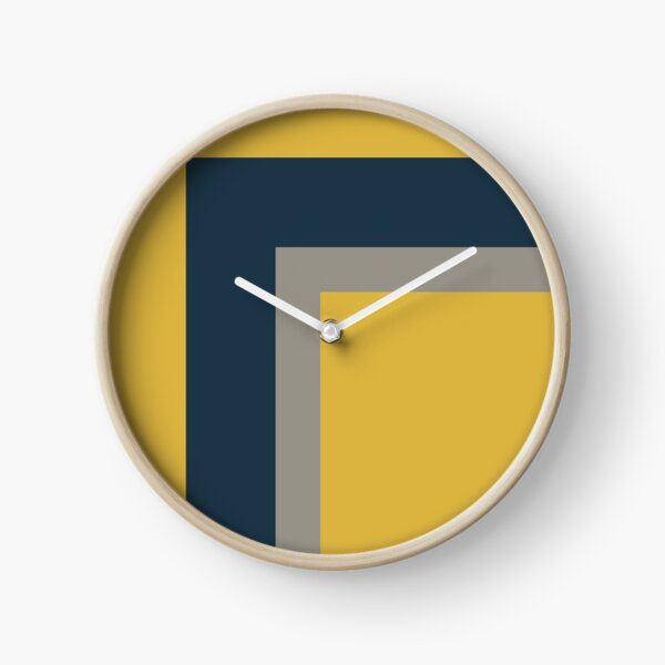Half Frame Minimalist Geometric Pattern 2 in Mustard Yellow, Navy Blue, and Grey Clock