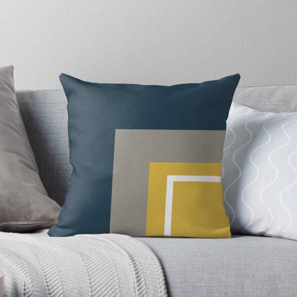 Half Frame Minimalist Geometric Pattern 3 in Mustard Yellow, Navy Blue, White, and Grey Throw Pillow