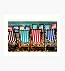 Seafront Deckchairs - Beer, Devon Art Print