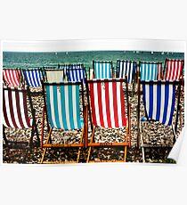Seafront Deckchairs - Beer, Devon Poster
