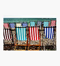 Seafront Deckchairs - Beer, Devon Photographic Print