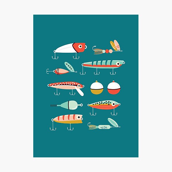 Fishing Lures Blue Photographic Print
