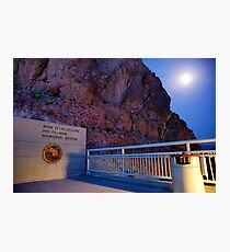 Moon rise over the Mike O'Callaghan - Pat Tillman memorial bridge Photographic Print