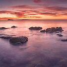 Waimama Bay Pastel Dawn by Ken Wright