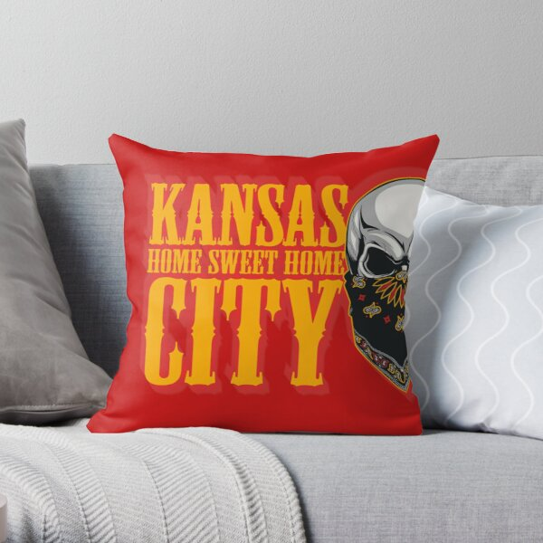 Kansas City home sweet home skull head Throw Pillow