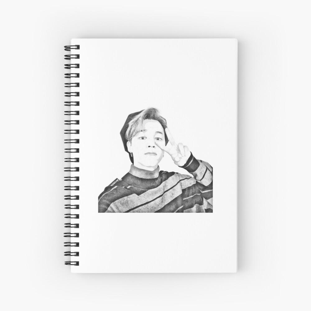 jimin bts twitter photo pencil sketch spiral notebook by yuehn redbubble