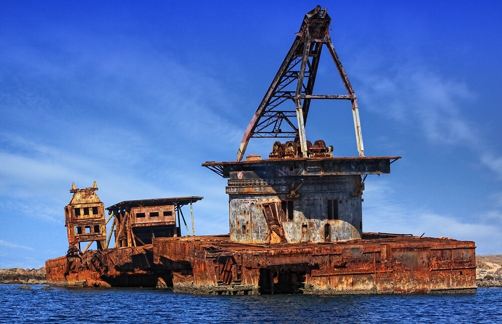 Shipwrecked Barge off the Pilbara coast, Western Australia by Marc Russo