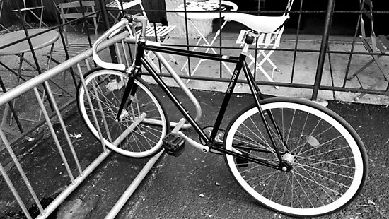 Black and White Fixie by Rachel Jeffrey