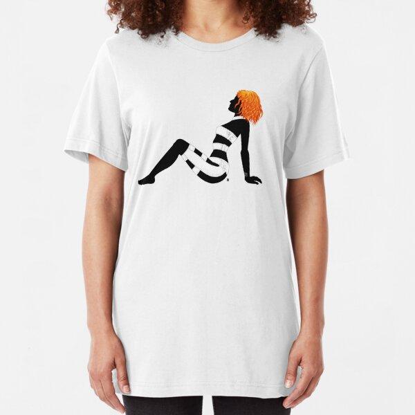 Leeloo Dallas Mudflap (mirror) Slim Fit T-Shirt