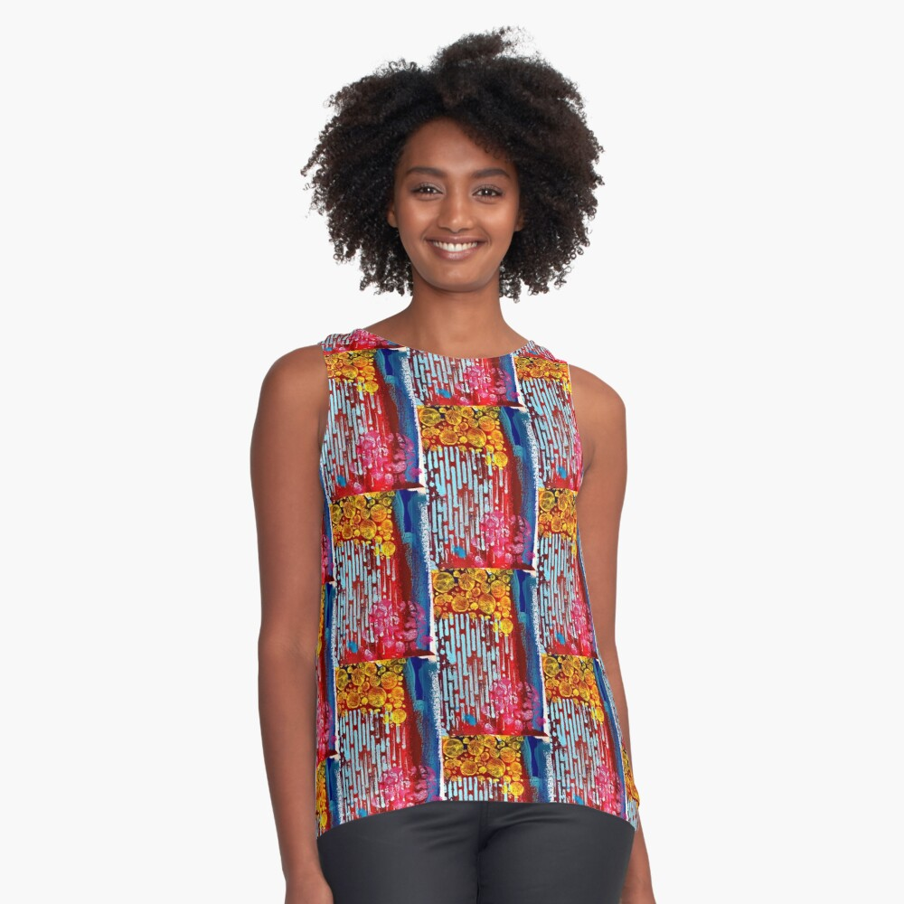 Yellow Flowers on a Blue Sky Sleeveless Top