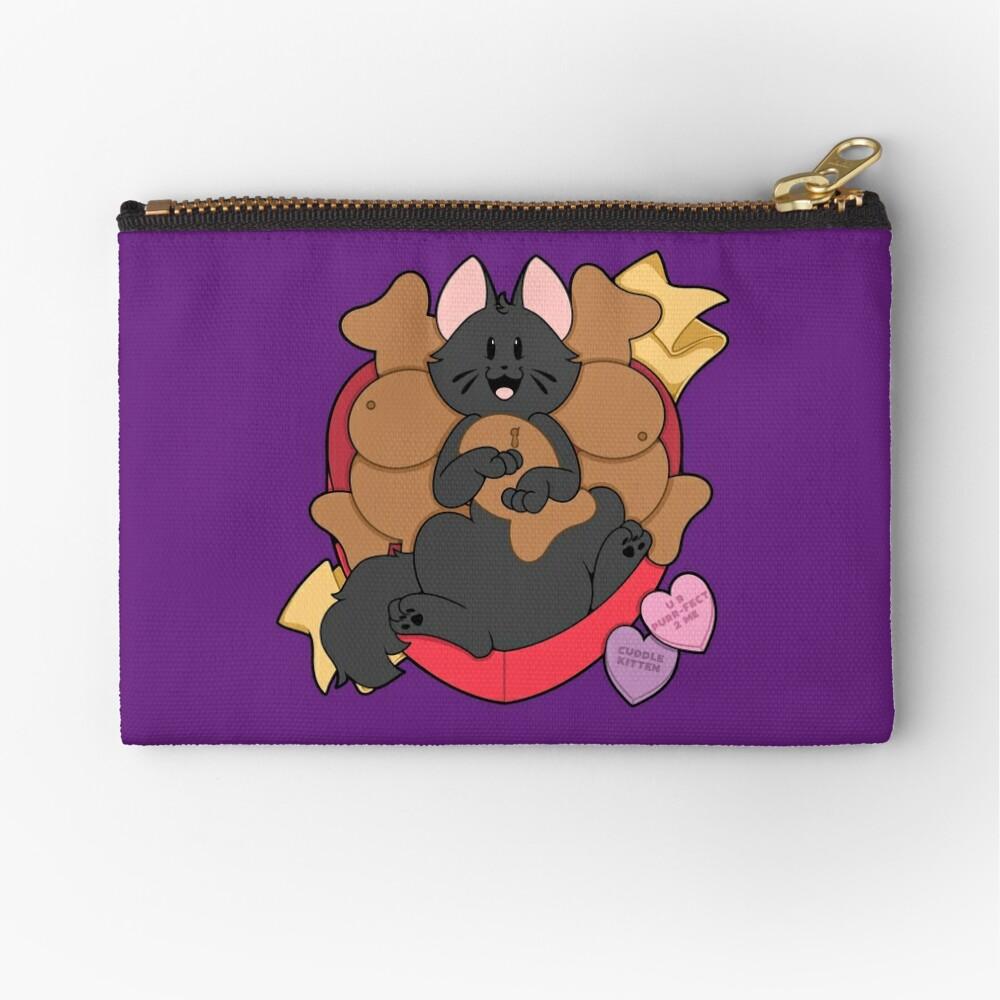 Valentines Box of Chocolates — Black Cat (Longhair) Zipper Pouch