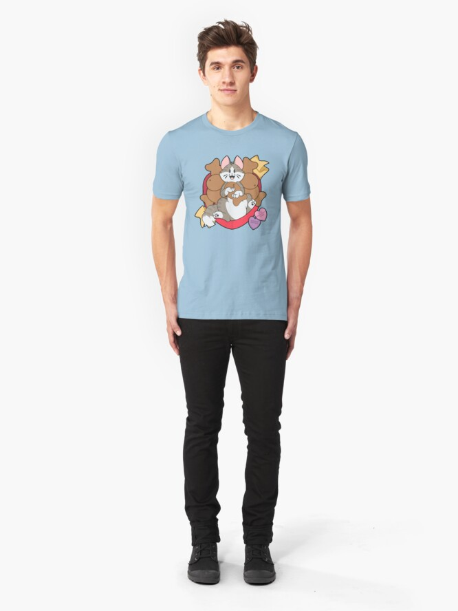Alternate view of Copy of Valentines Box of Chocolates — Grey Striped Cat (Longhair) Slim Fit T-Shirt
