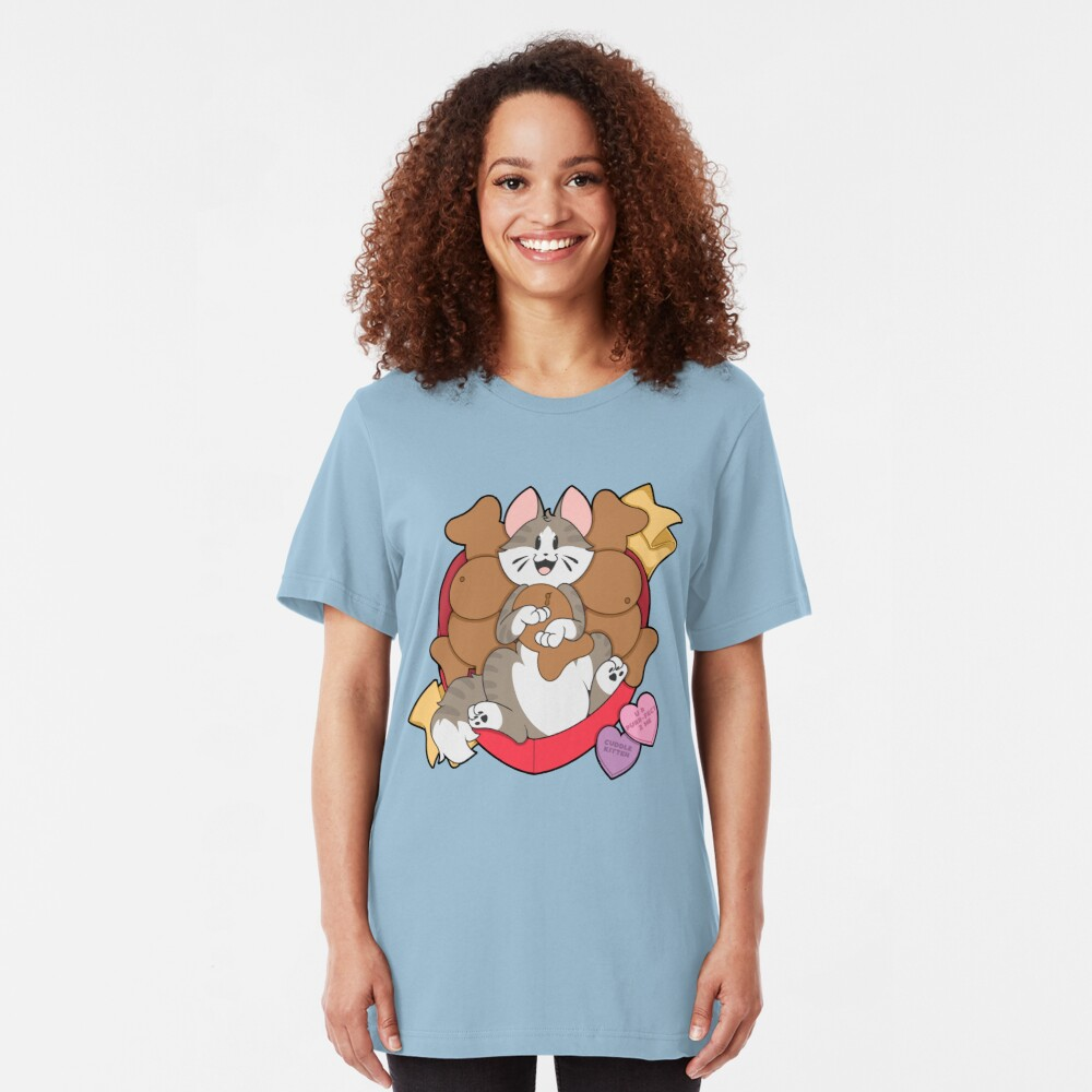 Copy of Valentines Box of Chocolates — Grey Striped Cat (Longhair) Slim Fit T-Shirt