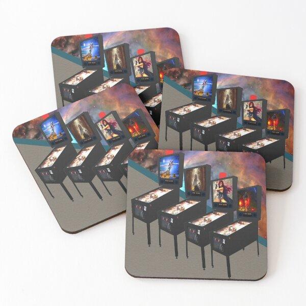 Retro Pinball Video Machines with Orion Nebula Wall, RBSSG Coasters (Set of 4)