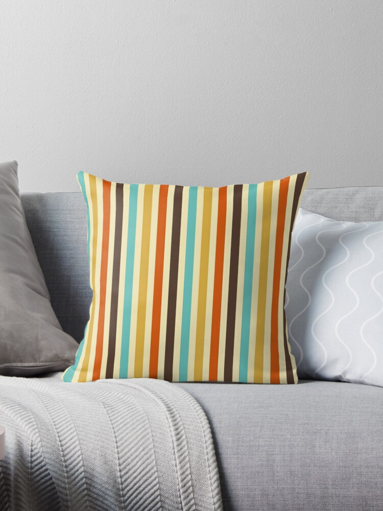 Vertical Stripes Retro Colors Blue Yellow Red Throw Pillows By