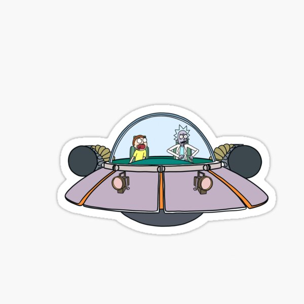 Rick and Morty in the spaceship | Rick and Morty Gadget Sticker