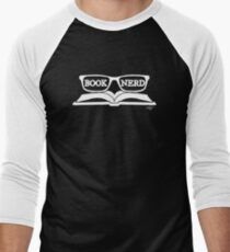Book Nerd (White) Men's Baseball ¾ T-Shirt