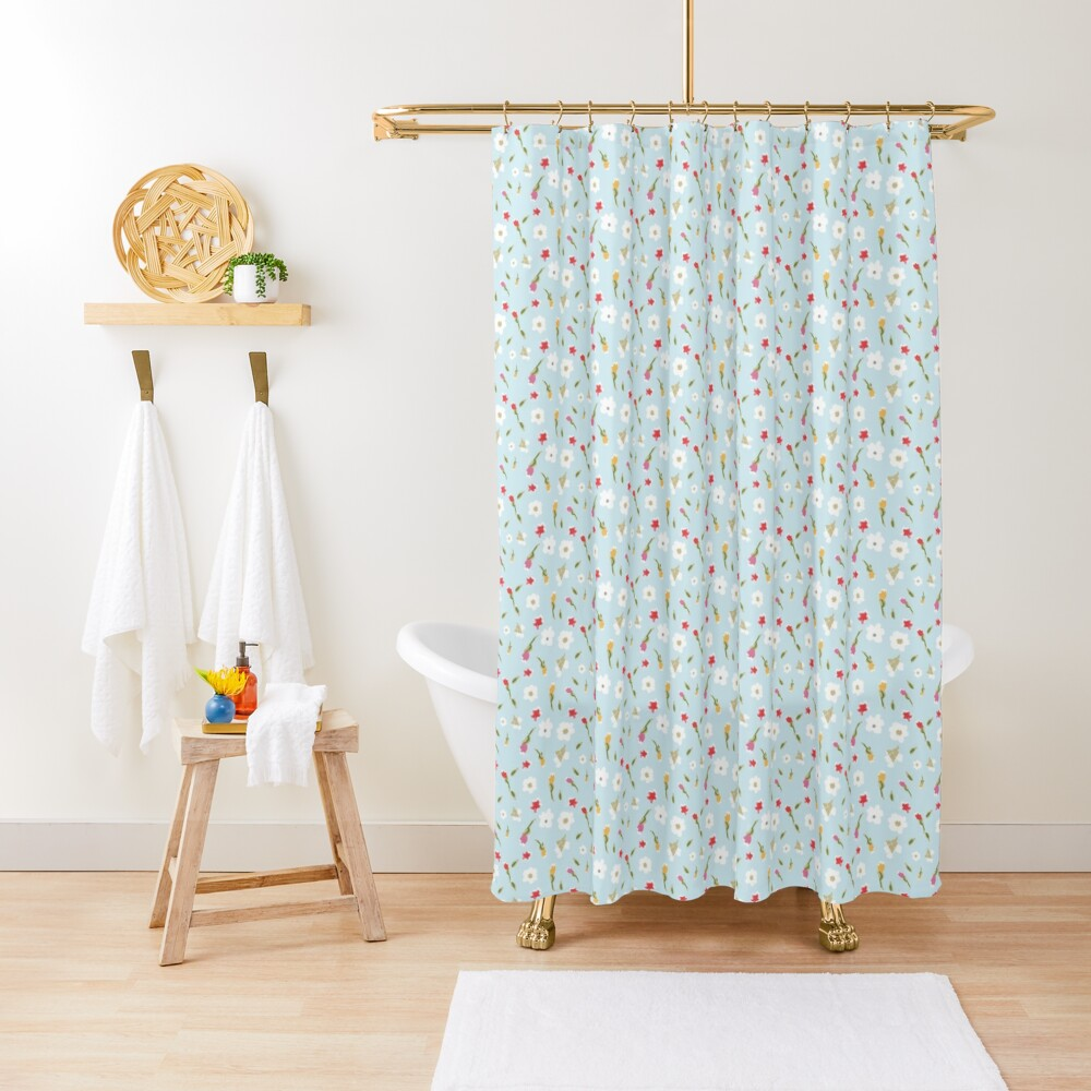 Spring Flowers in Periwinkle Shower Curtain