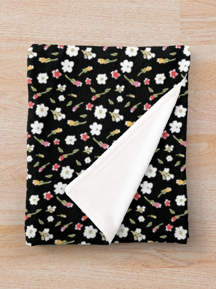 Alternate view of Spring Flowers in Licorice Throw Blanket