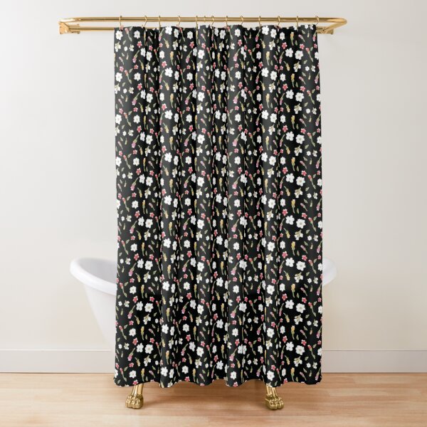 Spring Flowers in Licorice Shower Curtain