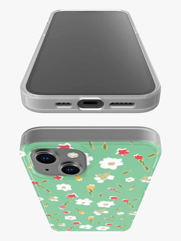 Alternate view of Spring Flowers in Mint iPhone Case