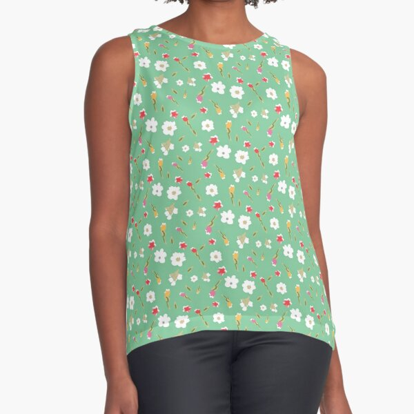 Spring Flowers in Mint Sleeveless Top