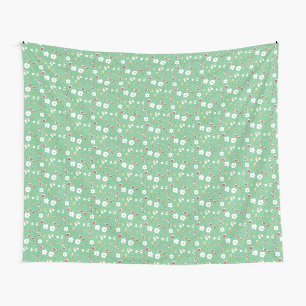 Spring Flowers in Mint Tapestry