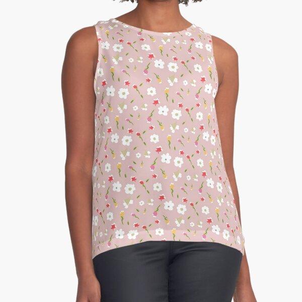 Spring Flowers in Rose Sleeveless Top