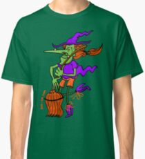 Crazy Witch Dancing with her Broomstick Classic T-Shirt