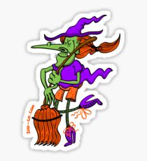Crazy Witch Dancing with her Broomstick Sticker