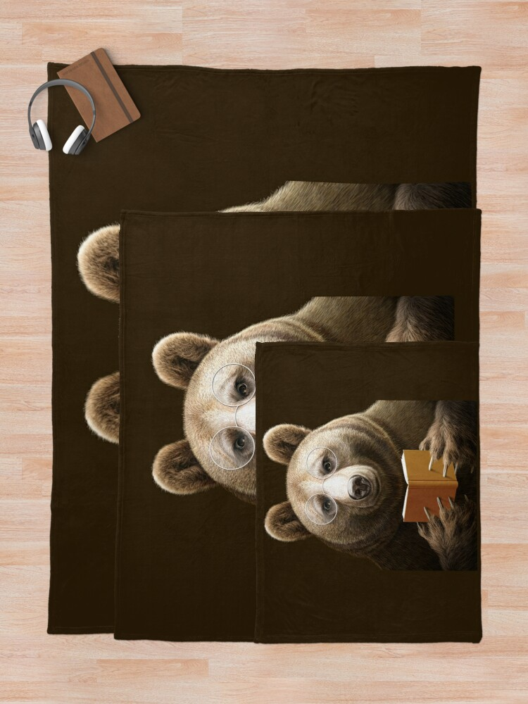 Alternate view of BEAR READING A BOOK Throw Blanket