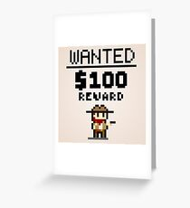 8-bit Wanted Poster Greeting Card