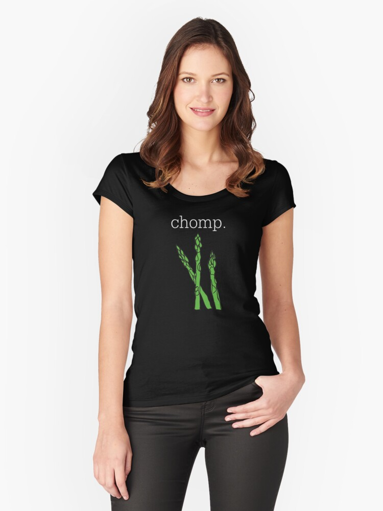 chomp. (asparagus)  <white text> Women's Fitted Scoop T-Shirt Front