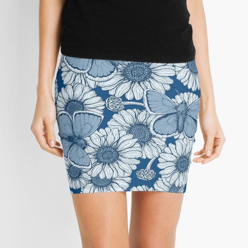 Classic blue spring Mini Skirt