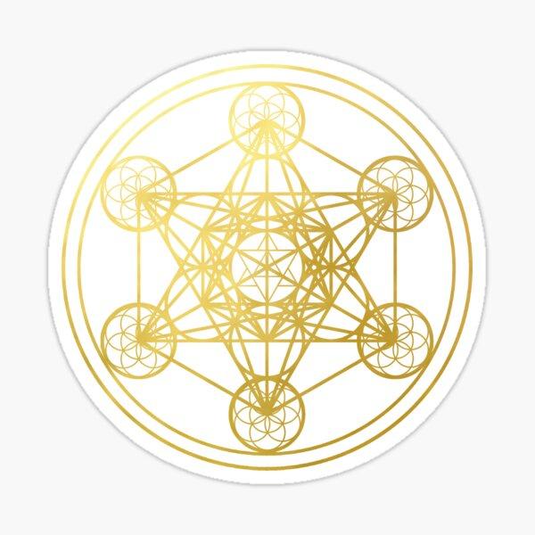 Metatrons Cube gold sacred geometry mandala esoteric symbol Kabbalah Sticker