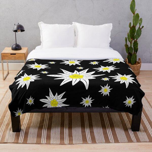 Edelweiss Pattern on Black Throw Blanket