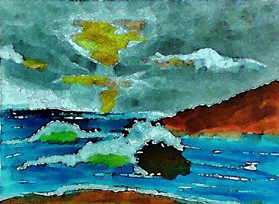 Stormy seas and sky, watercolor by Anna  Lewis, blind artist