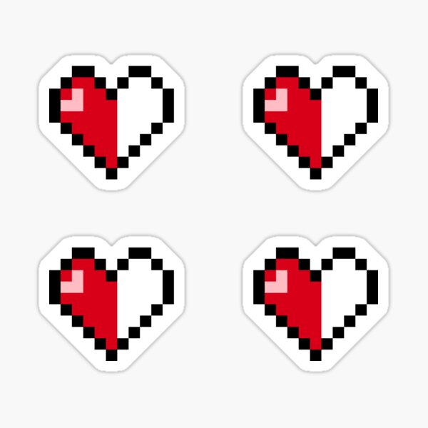 Pixel Heart Stickers (half full) 4x Sticker