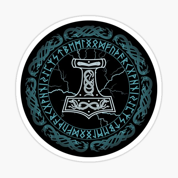 Martillo Mjölnir de runas de Thor Pegatina