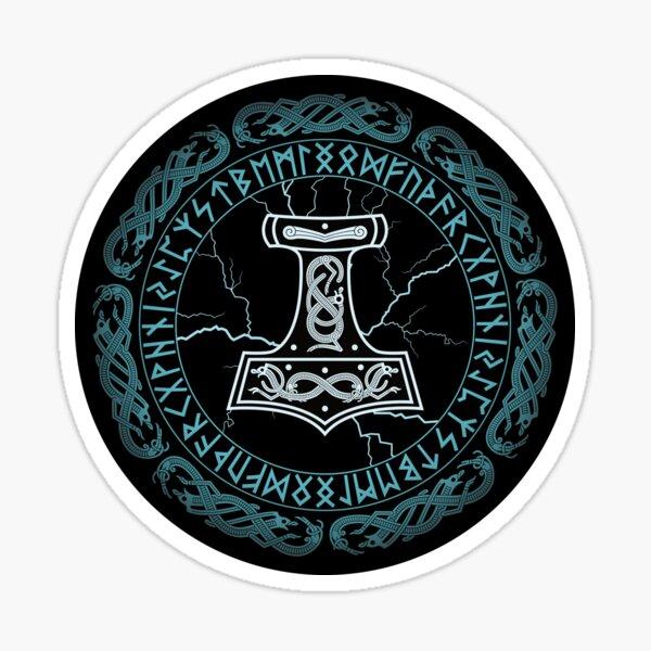 Mjölnir Hammer of Thor Runes Sticker