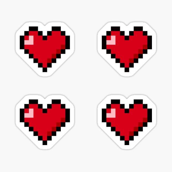 Pixel Hearts Stickers 4x Sticker