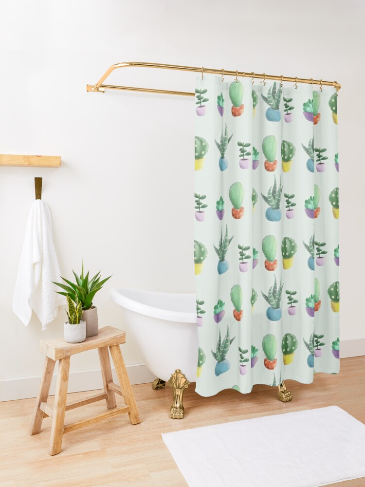 Alternate view of cute cacti Shower Curtain