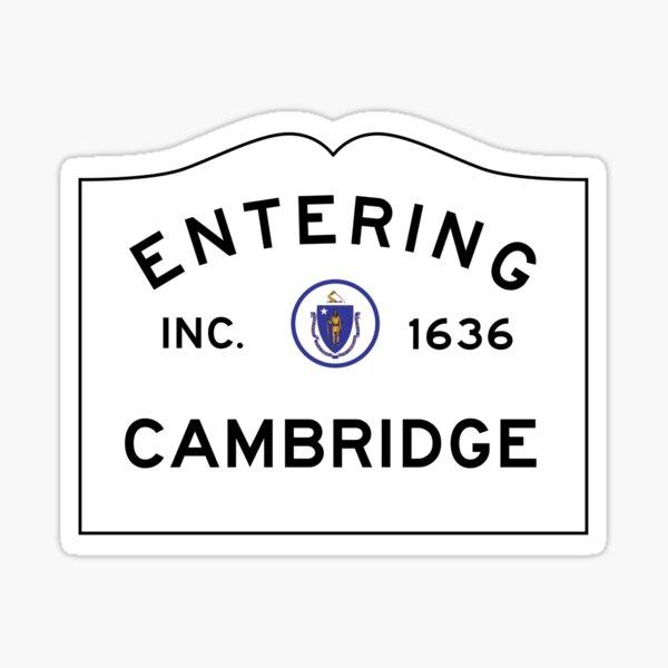 Entering Cambridge - Commonwealth of Massachusetts Road Sign Sticker