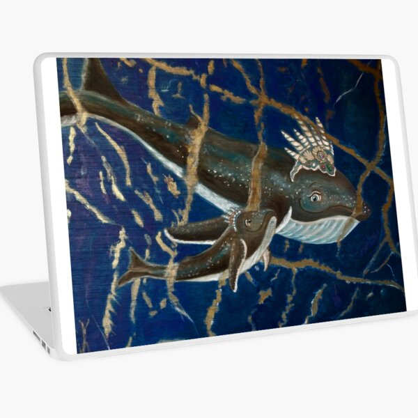 Mother Whale and her Baby in Lapis Lazuli Sea Laptop Skin