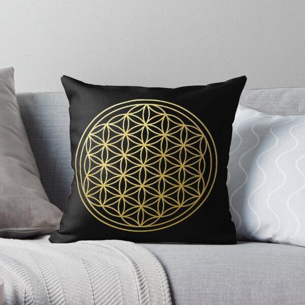 The Flower Of Life gold mandala sacred geometry spiritual protection symbol Throw Pillow
