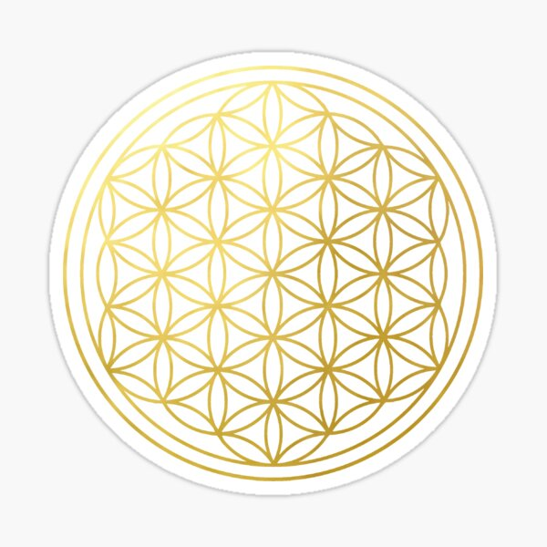 The Flower Of Life gold mandala sacred geometry spiritual protection symbol Sticker