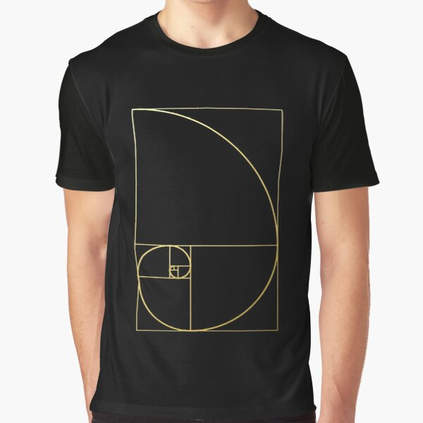 Fibonacci Golden Ratio gold spiral sacred geometry sequence science code phi Graphic T-Shirt