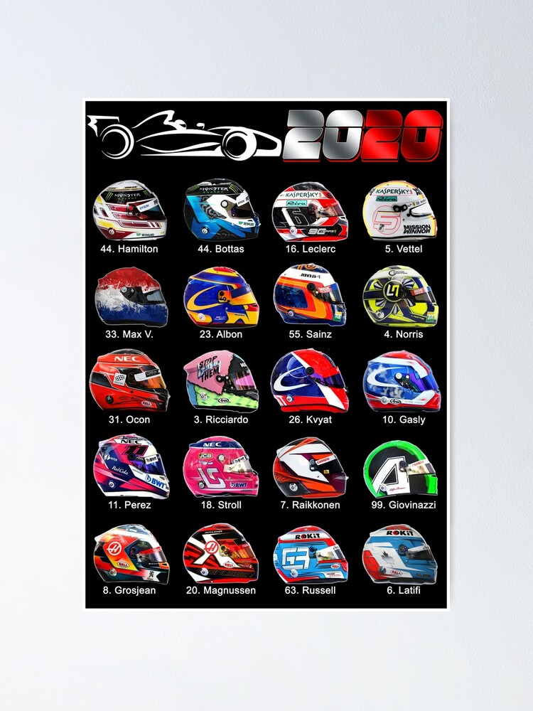 Race Cars Formula 2020 Helmets Of Drivers Poster By Ideasfinder