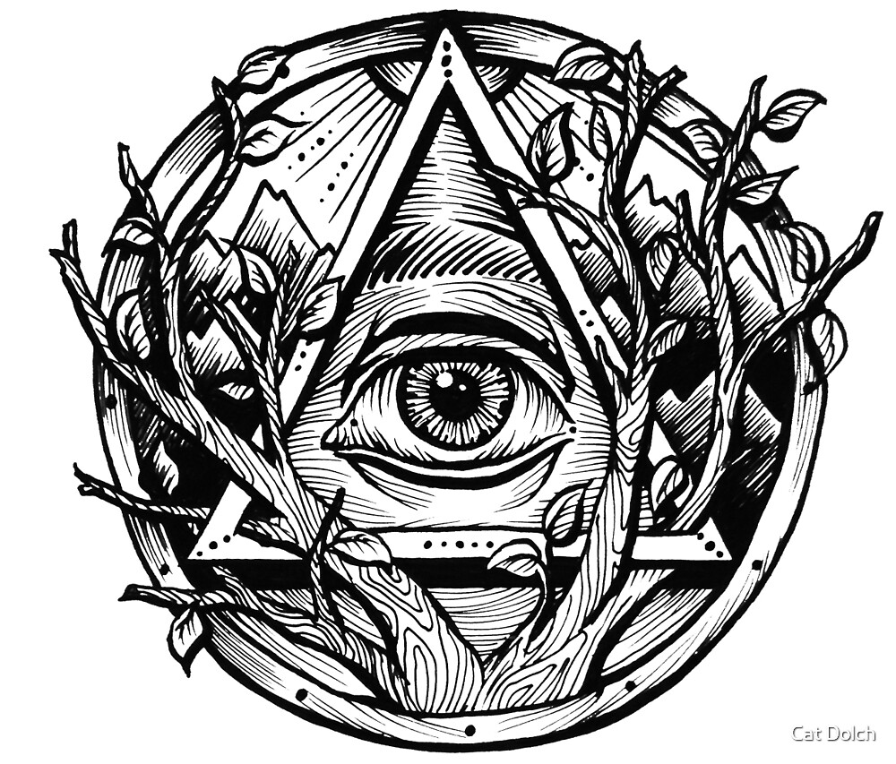 All seeing eye evil eye triangle by catherine dolch for Evil eye coloring pages